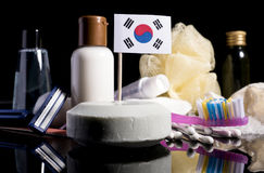 South Korean flag in the soap with all the products for the people hygiene royalty free stock image