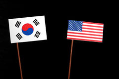 South Korean flag with USA flag isolated on black Stock Photography