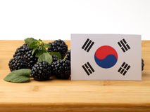South Korean flag on a wooden panel with blackberries isolated o royalty free stock photography