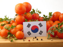 South Korean flag on a wooden panel with tomatoes isolated on a stock photo