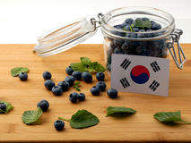South Korean flag on a wooden plank with blueberries  on Stock Photography