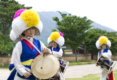 South Korean folklore. Event held in traditional village of Nagan royalty free stock images