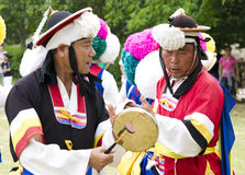 South Korean folklore. Event held in traditional village of Nagan stock photography