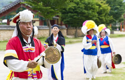 South Korean folklore. Event held in traditional village of Nagan stock photos
