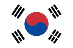 South korean national flag, official flag of south korea accurate colors. Flag of south korea Royalty Free Stock Photo