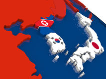 South Korean and North Korea on 3D map with flags Stock Image