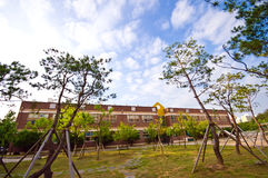 South Korean school building. Panoramic image of a South Korean elementary school building royalty free stock photo