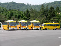 South Korean School Buses in parking lot. SEOUL, SOUTH KOREA - MAY 31: South Korean School Buses in parking lot. The School Bus transport the student body Royalty Free Stock Images