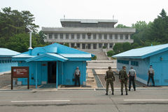 South Korean Soldiers in DMZ watching border Royalty Free Stock Image