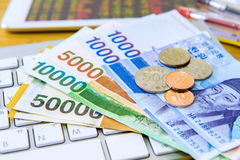 South Korean won currency and finance business. Royalty Free Stock Images