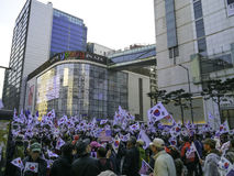 South Koreans rally to support Park Geun-Hye Royalty Free Stock Images