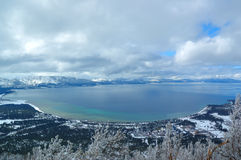 South lake tahoe shoreline. Panoramic aerial image of the south shore of lake tahoe in winter Stock Photography