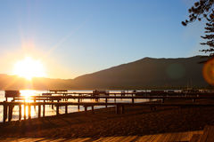 South Lake Tahoe Sunrise. The sun peaking over the eastern mountain ridge of South Lake Tahoe Royalty Free Stock Image