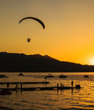 South Lake Tahoe Sunset. Silhouette of people at sunset Lake Tahoe California, USA Royalty Free Stock Images