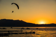 South Lake Tahoe Sunset. Silhouette of people at sunset Lake Tahoe California, USA Stock Image