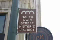 South Main Street Sign Downtown Memphis, TN. South Main Historic District in downtown, Memphis Tennessee Royalty Free Stock Photo