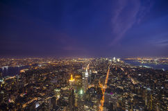 South Manhattan. Aerial View of South Manhattan at Dusk Royalty Free Stock Images