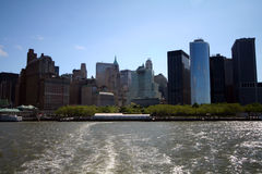 South manhattan skyline. From a boat on hudson river Royalty Free Stock Image