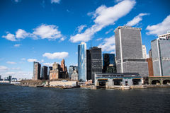 South of Manhattan - Staten Island Ferry. South of Manhattan, view from Staten Island Ferry 2014 royalty free stock photography