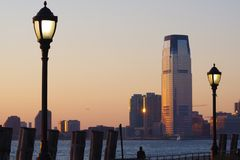South of Manhattan at sunset Royalty Free Stock Images