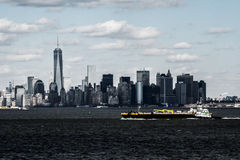 South of Manhattan. View from Staten Island Ferry 2014 Stock Photo
