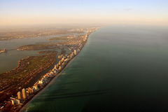 Aerial Miami view. Aerial sunset coastal view of South Miami Beach in Florida, USA Stock Photography
