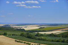 South Moravia fields in sunny day. stock photo