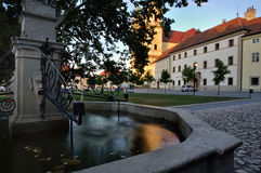 South Moravia, Valtice, fountain in a square. Late afternoon in UNESCO town Valtice Royalty Free Stock Image
