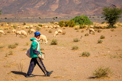 South Morocco - November 04, 2016: Young Moroccan shepherd Royalty Free Stock Photo