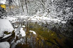 South mountain stream in winter woods Stock Photo