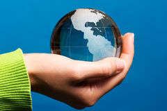 South and North America, blue Earth globe Stock Images