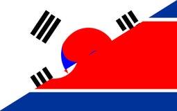 south north korea flag Royalty Free Stock Photo