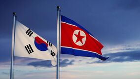 South and North Korea flags show the tension and confrontation between Seoul and pyongyang