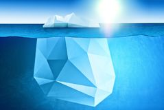 South and North pole and all things related - underwater view of iceberg with beatiful polar sea waters around and sun on backgrou vector illustration
