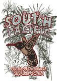 South pacific. Consisting of flowers and palm trees pacific bird-themed graphic vector illustration
