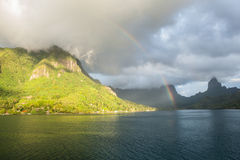 South Pacific Island and Rainbow 2 Stock Photo