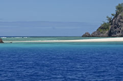 South Pacific Paradise. Sandspit on Mondriki Island, with foreground of turquoise water Stock Image