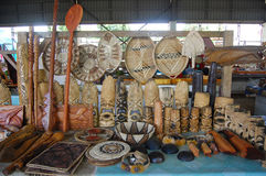 South Pacific souvenirs at town market Royalty Free Stock Photography