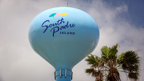 South Padre Island Sign on Water Tower Royalty Free Stock Photo