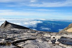 South Peak of Mount Kinabalu. With the wide view of below stock photo