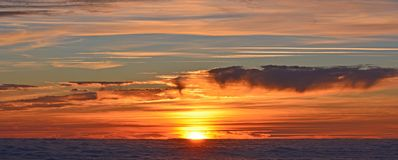 South Peak, Sunset, Sun, Twilight Stock Photo