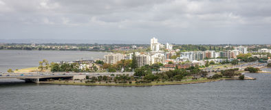South Perth suburb view from Kings Park and Botanical gardens in Stock Photography