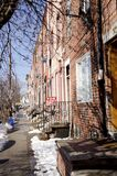 South Philly Row Houses. A row of typical two story brick homes in South Philly neighborhood of Philadelphia Pennsylvania Royalty Free Stock Photo