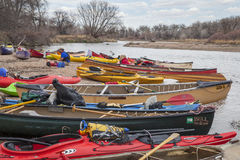 Kayaks and canoes Stock Image