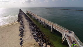South Pointe Park fishing pier stock video