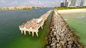 South Pointe Park fishing pier stock footage