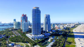 South Pointe Park in Miami Beach, aerial view royalty free stock photos