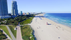South Pointe Park in Miami Beach, aerial view royalty free stock image