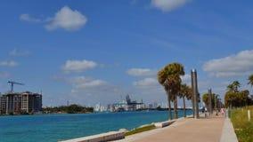 South Pointe Park Miami Beach 4k video stock footage