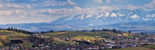 South Poland Panorama with snowy Tatra mountains in spring. Malopolska Panorama with snowy Tatra mountains in spring Stock Photography